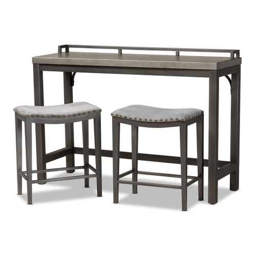 Baxton Studio Noll Modern and Contemporary Grey Fabric Upholstered 3-Piece Multipurpose Metal Counter Table Set