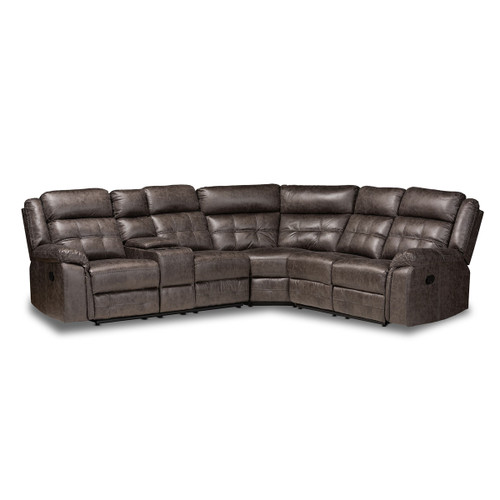 Baxton Studio Vesa Modern and Contemporary Grey Leather-Like Fabric Upholstered 6-Piece Sectional Recliner Sofa with 2 Reclining Seats