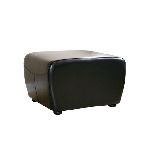 Baxton Studio Black Full Leather Ottoman with Rounded Sides