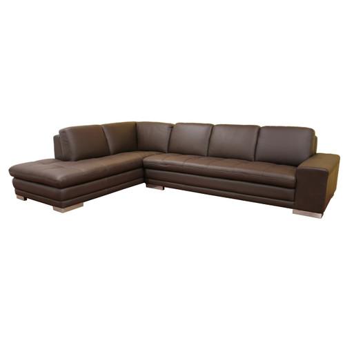 Baxton Studio Callidora Dark Brown Leather-Leather Match Sofa Sectional Reverse