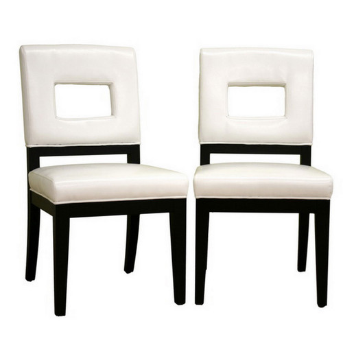 Baxton Studio Faustino Cream Leather Dining Chair (Set of 2)