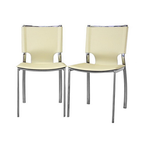 Baxton Studio Montclare Ivory Leather Modern Dining Chair (Set of 2)