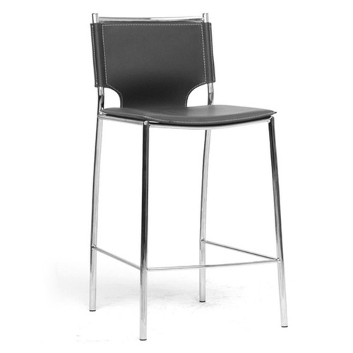 Baxton Studio Montclare Modern and Contemporary Black Bonded Leather Upholstered Modern Counter Stool (Set of 2)