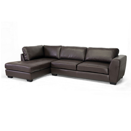 Baxton Studio Orland Brown Leather Modern Sectional Sofa Set with Left Facing Chaise