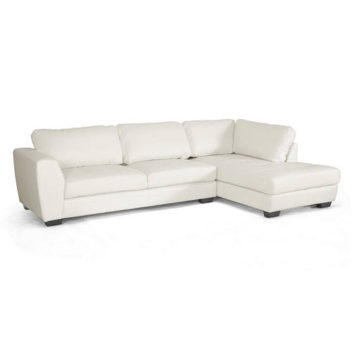 Baxton Studio Orland White Leather Modern Sectional Sofa Set with Right Facing Chaise