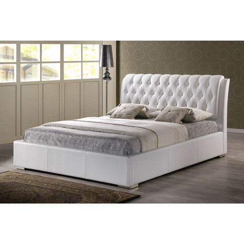 Baxton Studio Bianca White Modern Bed with Tufted Headboard (Queen Size)