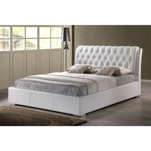 Baxton Studio Bianca White Modern Bed with Tufted Headboard (King Size)