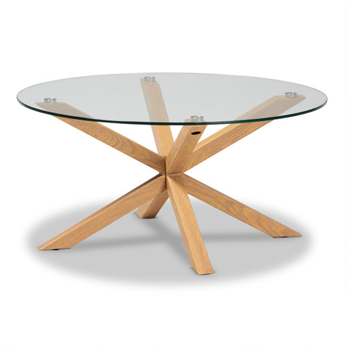Baxton Studio Lida Modern and Contemporary Glass and Wood Finished Coffee Table