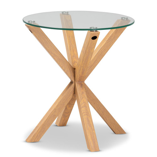 Baxton Studio Lida Modern and Contemporary Glass and Wood Finished End Table