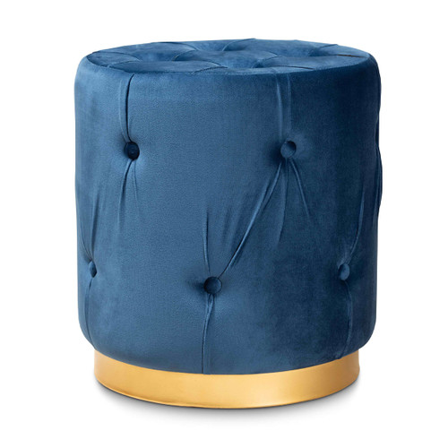 Baxton Studio Gaia Glam and Luxe Navy Blue Velvet Fabric Upholstered Gold Finished Button Tufted Ottoman