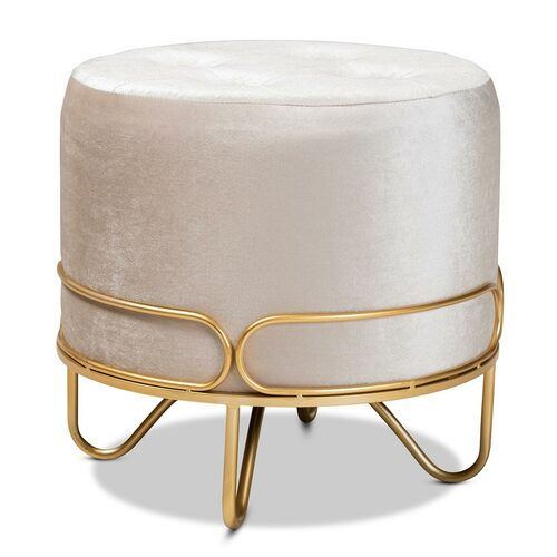 Baxton Studio Lucienne Glam and Luxe Beige Velvet Fabric Upholstered Gold Finished Metal Ottoman