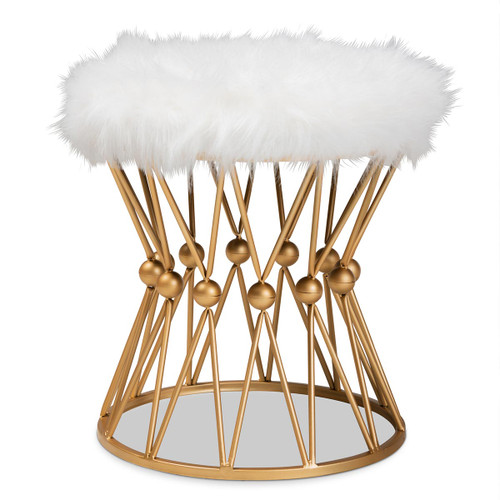 Baxton Studio Leonie Glam and Luxe White Faux Fur Upholstered Gold Finished Metal Ottoman