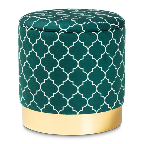 Baxton Studio Serra Glam and Luxe Teal Green Quatrefoil Velvet Fabric Upholstered Gold Finished Metal Storage Ottoman
