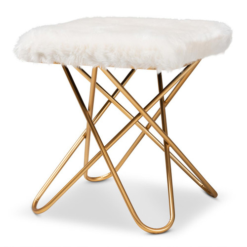 Baxton Studio Valle Glam and Luxe White Faux Fur Upholstered Gold Finished Metal Ottoman