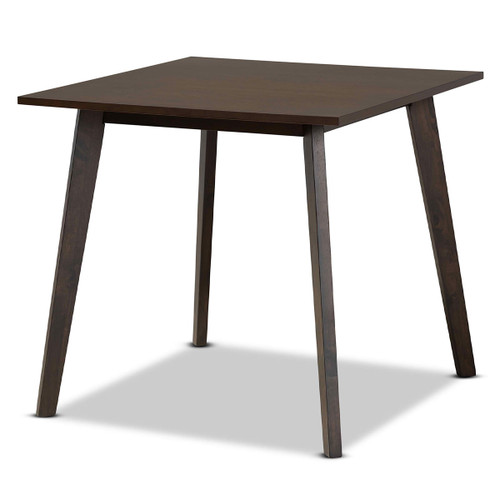 Baxton Studio Britte Mid-Century Modern  Oak Brown Finished Square Wood Dining Table