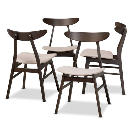 Baxton Studio Britte Mid-Century Modern Beige Fabric Upholstered  Oak Brown Finished 4-Piece Wood Dining Chair Set Set