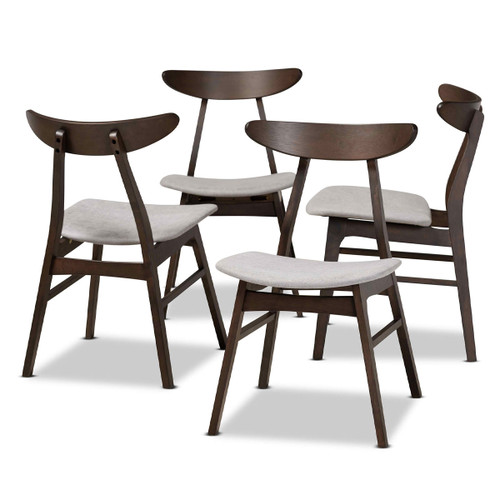 Baxton Studio Britte Mid-Century Modern Light Grey Fabric Upholstered  Oak Brown Finished 4-Piece Wood Dining Chair Set Set