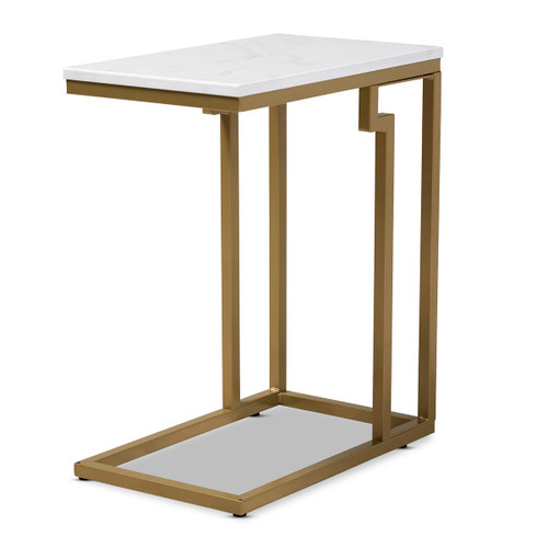 Baxton Studio Renzo Modern and Contemporary Brushed Gold Finished Metal End Table with Faux Marble Tabletop