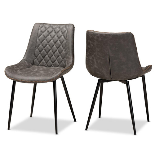 Baxton Studio Loire Modern and Contemporary Grey and Brown Faux Leather Upholstered Black Finished 2-Piece Dining Chair Set