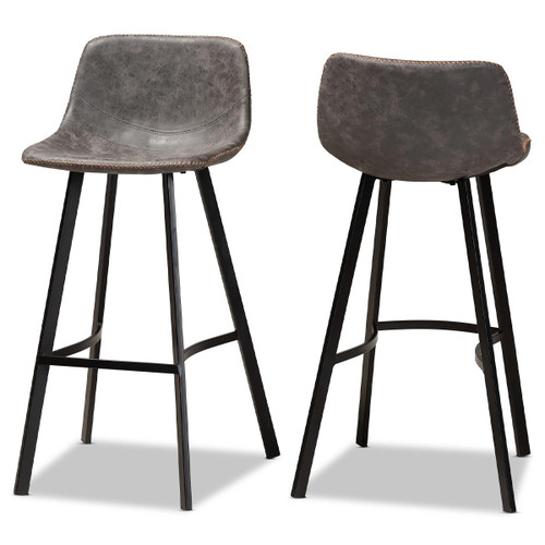 Baxton Studio Tani Rustic Industrial Grey and Brown Faux Leather Upholstered Black Finished 2-Piece Metal Bar Stool Set