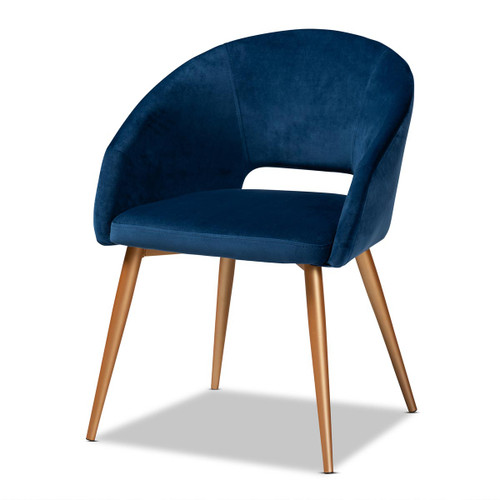 Baxton Studio Vianne Glam and Luxe Navy Blue Velvet Fabric Upholstered Gold Finished Metal Dining Chair