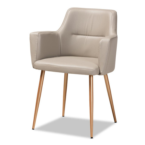 Baxton Studio Martine Glam and Luxe Grey Faux Leather Upholstered Gold Finished Metal Dining Chair