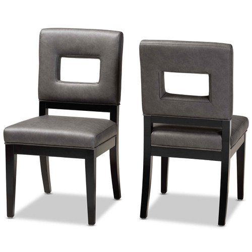 Baxton Studio Faustino Modern and Contemporary Grey Faux Leather Upholstered Black Finished Wood 2-Piece Dining Chair Set