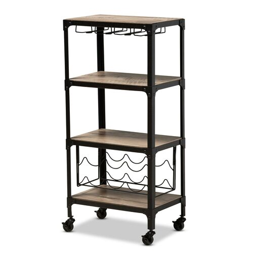 Baxton Studio Swanson Rustic Industrial Style Antique Black Textured Metal Distressed Oak Finished Wood Mobile Kitchen Bar Wine Cart