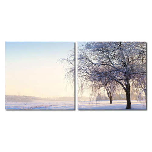 Baxton Studio Snowy Solitude Mounted Photography Print Diptych