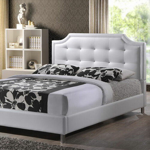 Baxton Studio Carlotta White Modern Bed with Upholstered Headboard - King Size