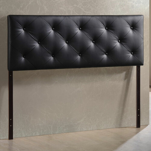 Baxton Studio Baltimore Modern and Contemporary Queen Black Faux Leather Upholstered Headboard