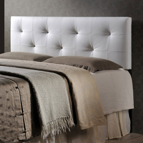 Baxton Studio Dalini Modern and Contemporary Queen White Faux Leather Headboard with Faux Crystal Buttons