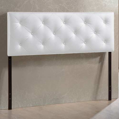 Baxton Studio Baltimore Modern and Contemporary Queen White Faux Leather Upholstered Headboard