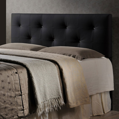 Baxton Studio Dalini Modern and Contemporary Queen Black Faux Leather Headboard with Faux Crystal Buttons