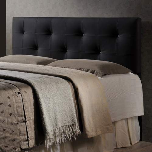 Baxton Studio Dalini Modern and Contemporary Full Black Faux Leather Headboard with Faux Crystal Buttons