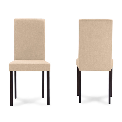 Baxton Studio Andrew Contemporary Espresso Wood Beige Fabric Dining Chair (Set of 4)