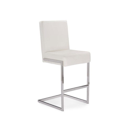 Baxton Studio Toulan Modern and Contemporary White Faux Leather Upholstered Stainless Steel Barstool (Set of 2)