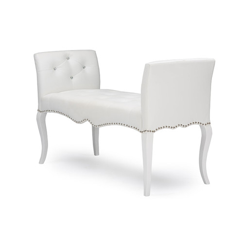 Baxton Studio Kristy Modern and Contemporary White Faux Leather Classic Seating Bench