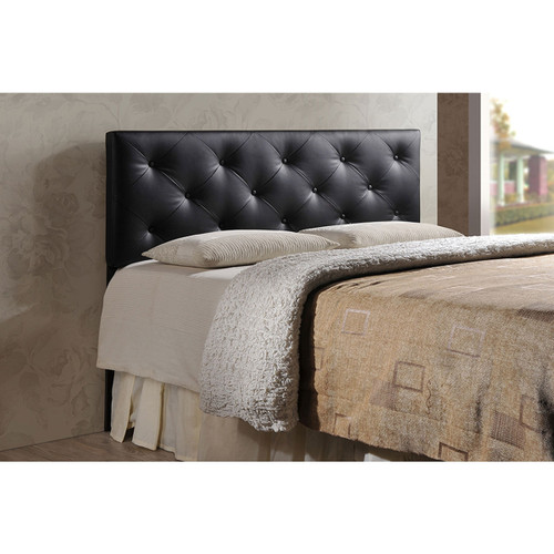 Baxton Studio Baltimore Modern and Contemporary King Black Faux Leather Upholstered Headboard