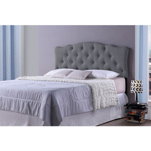 Baxton Studio Rita Modern and Contemporary Queen Size Grey Fabric Upholstered Button-tufted Scalloped Headboard
