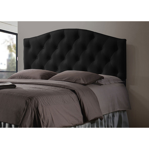 Baxton Studio Myra Modern and Contemporary Queen Size Black Faux Leather Upholstered Button-tufted Scalloped Headboard