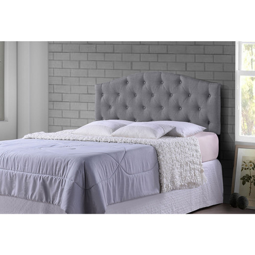Baxton Studio Myra Modern and Contemporary Queen Size Grey Fabric Upholstered Button-tufted Scalloped Headboard