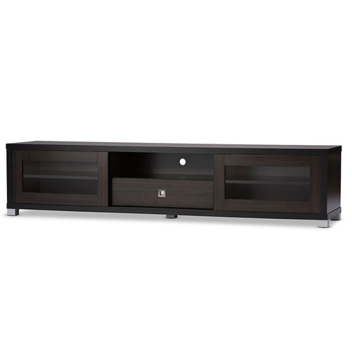 Baxton Studio Beasley 70-Inch Dark Brown TV Cabinet with 2 Sliding Doors and Drawer