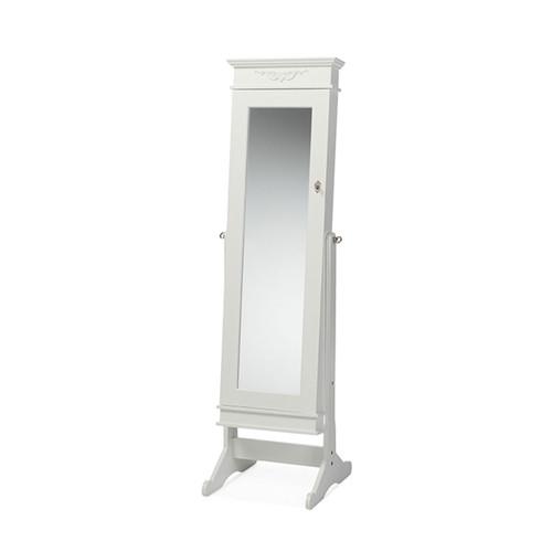 Baxton Studio Bimini White Finish Wood Crown Molding Top Free Standing Full Length Cheval Mirror Jewelry Armoire