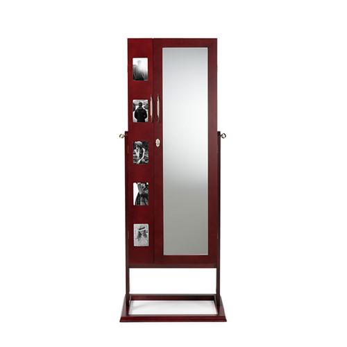 Baxton Studio Vittoria Brown Finish Wood Square Foot Floor Standing Double Door Storage Jewelry Armoire Cabinet