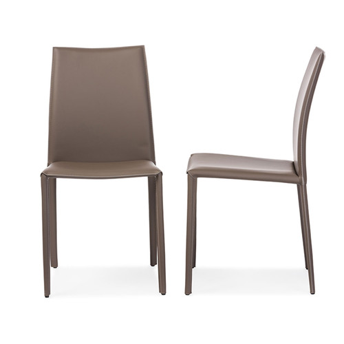 Baxton Studio Rockford Modern and Contemporary Taupe Bonded Leather Upholstered Dining Chair- Set of 2