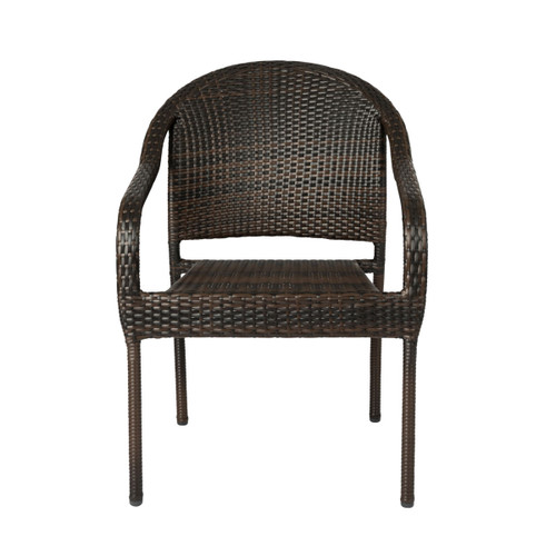 Café Stacking Chair In Mocha All-Weather Wicker - 4pk
