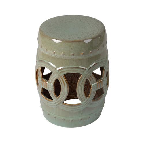 Large Medallion Ceramic Garden Stool- Jade