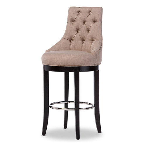 Baxton Studio Harmony Modern and Contemporary Button-tufted Beige Fabric Upholstered Bar Stool with Metal Footrest