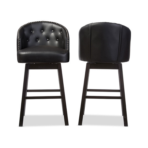 Baxton Studio Avril Modern and Contemporary Black Faux Leather Tufted Swivel Barstool with Nail heads Trim (Set of 2)